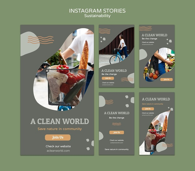 Modello di progettazione di storie di instagram di sostenibilità Psd Premium