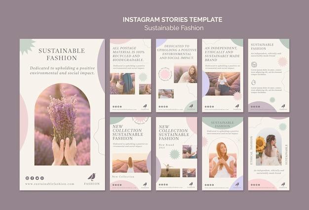 Modello di storie sui social media di moda sostenibile