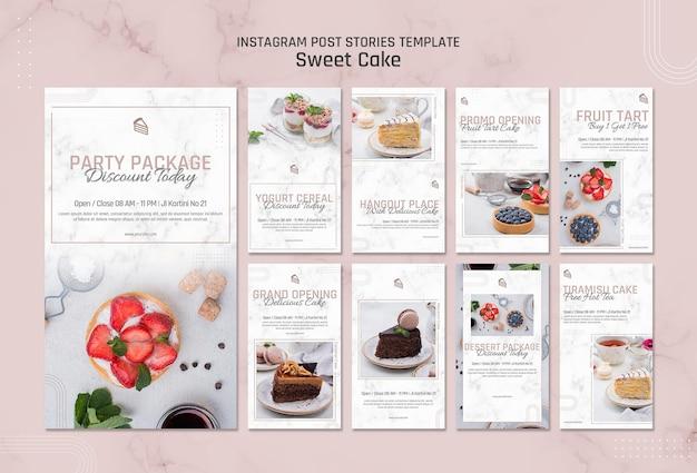 Modello di storie di instagram di pasticceria dolce