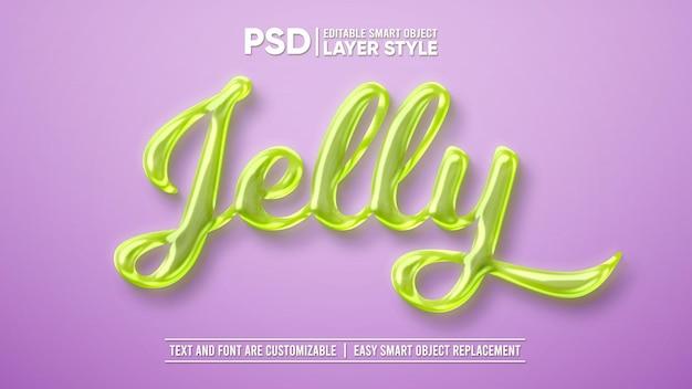 Sweet green jelly slime candy gum layer stile modificabile effetto testo oggetto intelligente