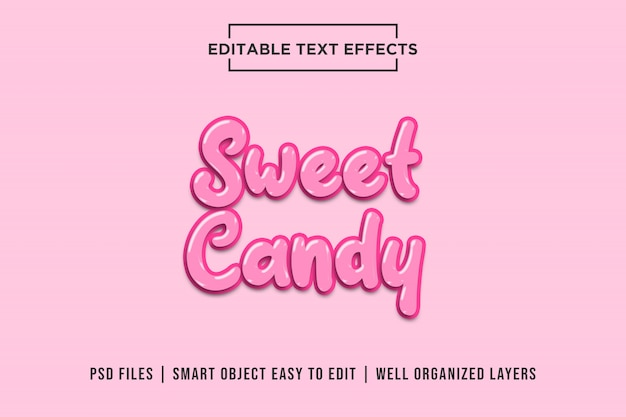 Sweet pink candy, 3d text effects premium psd