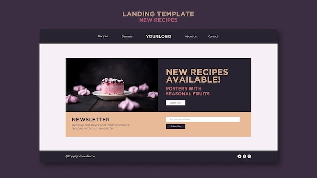 Modello di pagina di destinazione per ricette dolci