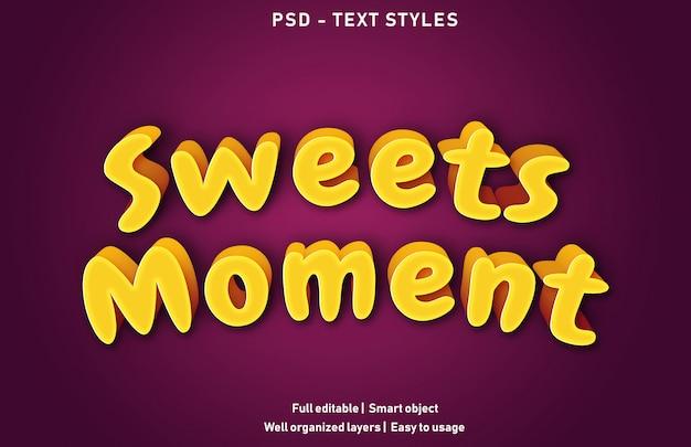 Premium di effetti di testo momento di dolci modificabili