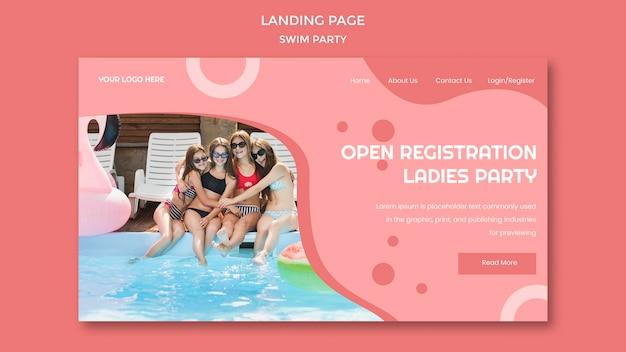 Modello di pagina di destinazione della festa di nuoto