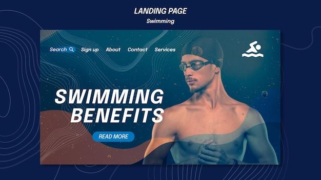 Pagina di destinazione del modello di benefici per il nuoto