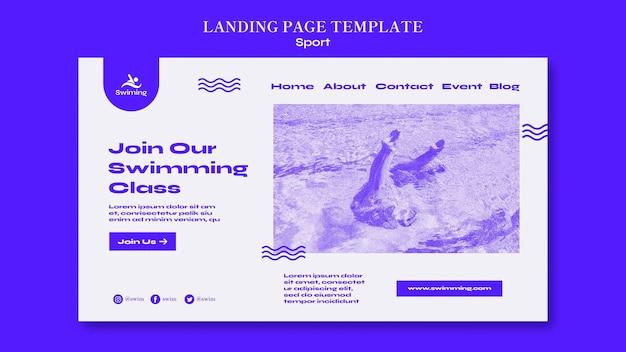 Modello di pagina di destinazione del corso di nuoto