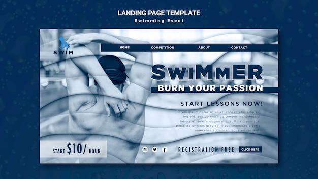 Modello di pagina di destinazione per il nuoto