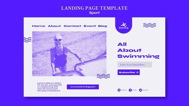 Modello di pagina di destinazione della lezione di nuoto