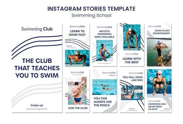 Storie di instagram della scuola di nuoto