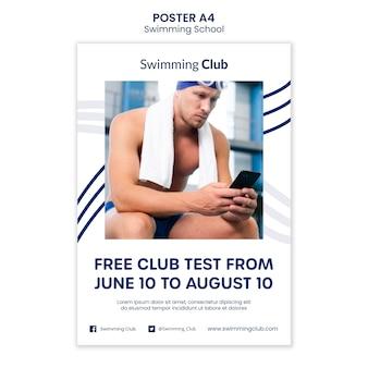 Modello di poster scuola di nuoto