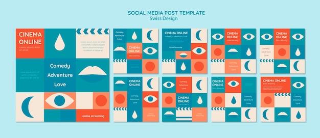 Set di post di instagram di design svizzero