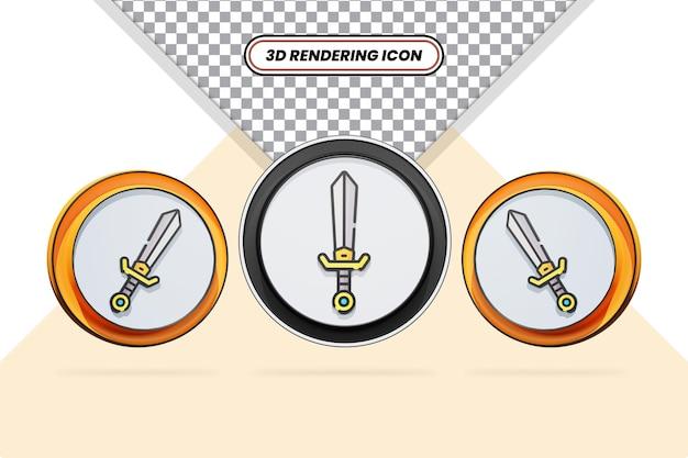 Disegno dell'icona di spada in 3d reso isolato