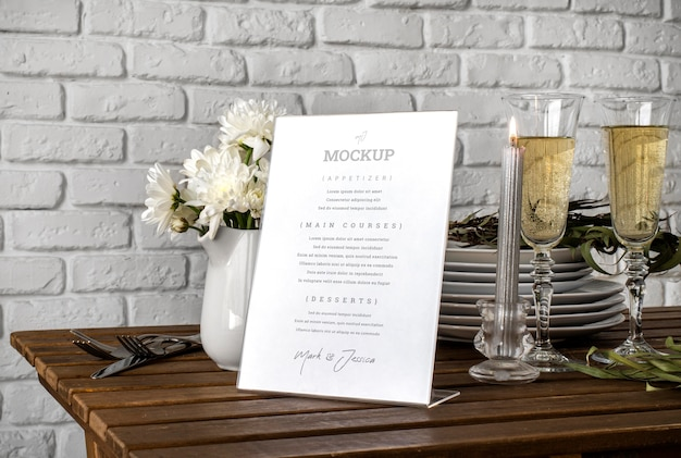 Modello di visualizzazione del menu da tavolo