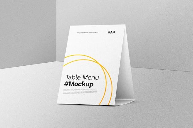 Mockup di menu tenda da tavolo
