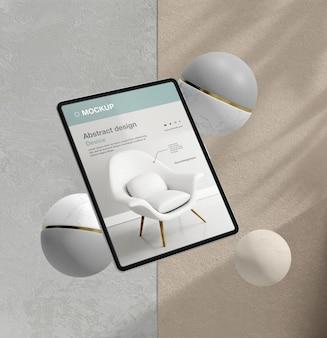 Assortimento di mock-up per tablet con elementi in pietra ed elementi metallici