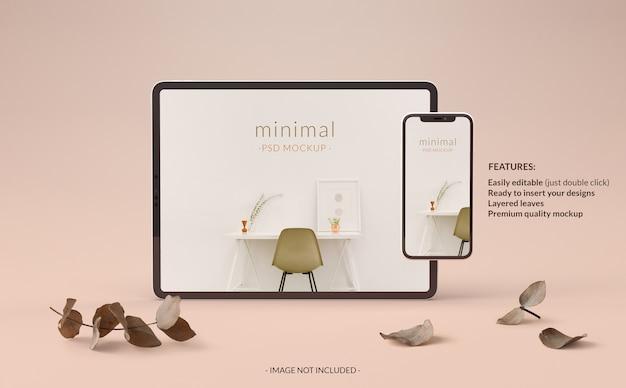Mockup elegante per tablet e telefono con piante
