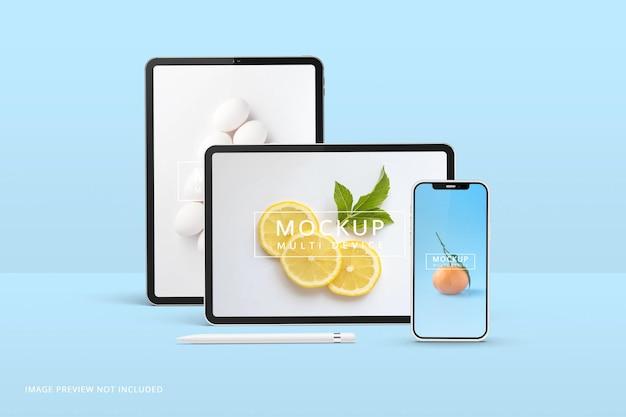 Tablet e schermo del telefono mockup rendering 3d Psd Premium