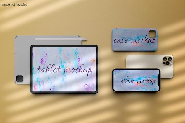 Dispositivo digitale mockup schermo tablet e telefono