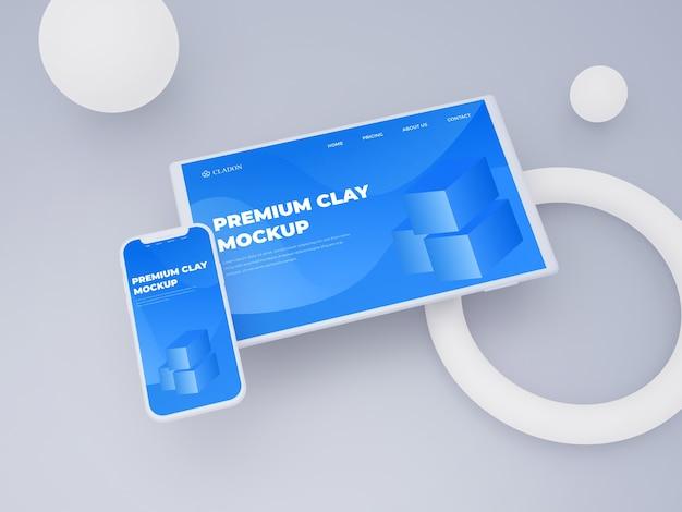Mockup di argilla dello schermo di tablet e smartphone