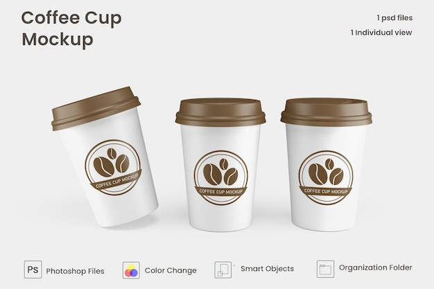 Porta via il modello di tazza di caffè di carta psd premium