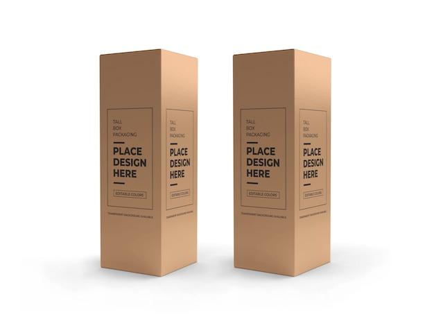 Scatola alta packaging design mockup isolato