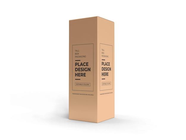 Mockup di imballaggio scatola alta isolato