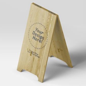 Mockup di segnaletica in legno per bistrot di caffè alti