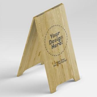 Mockup di segnaletica in legno chiaro per caffetteria alta