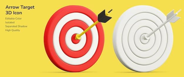 Obiettivo obiettivo freccia 3d design asset icona mockup