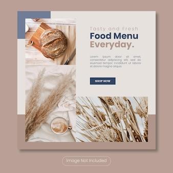 Modello di banner post instagram menu gustoso e fresco