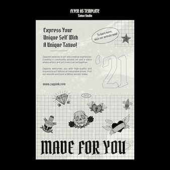 Modello di progettazione del poster dello studio del tatuaggio