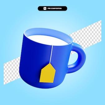 Illustrazione di rendering 3d della tazza di tè isolata