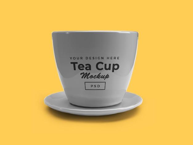 Tazza da tè sulla piastra 3d mockup design