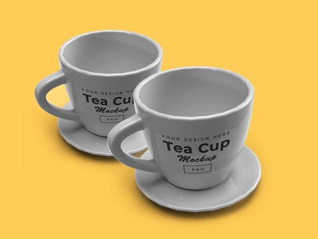 Tazza da tè sulla piastra 3d mockup