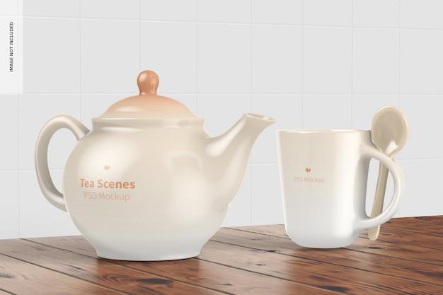 Mockup di scena del tè