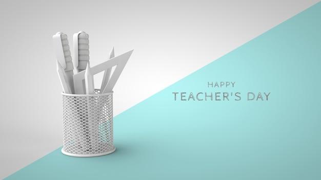 Modello di biglietto di auguri psd per la giornata degli insegnanti stand con cancelleria e posto per il rendering 3d del testo