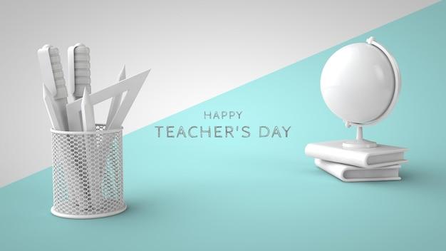 Modello di biglietto di auguri psd per la giornata degli insegnanti globo del libro di cancelleria e posto per il rendering 3d del testo