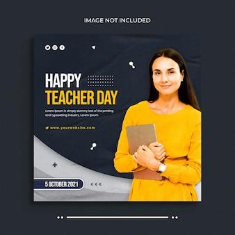 Banner web per post sui social media per la giornata degli insegnanti e modello di post per banner su instagram