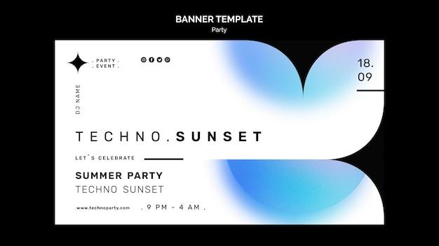 Banner orizzontale festa di musica techno