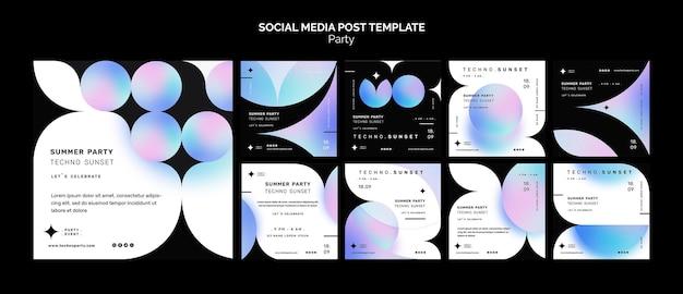 Modello di post sui social media per feste di musica techno