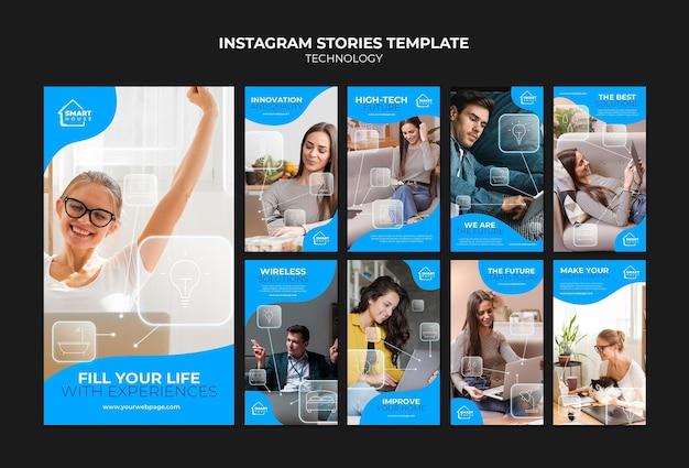 Modello di storie di tecnologia instagram