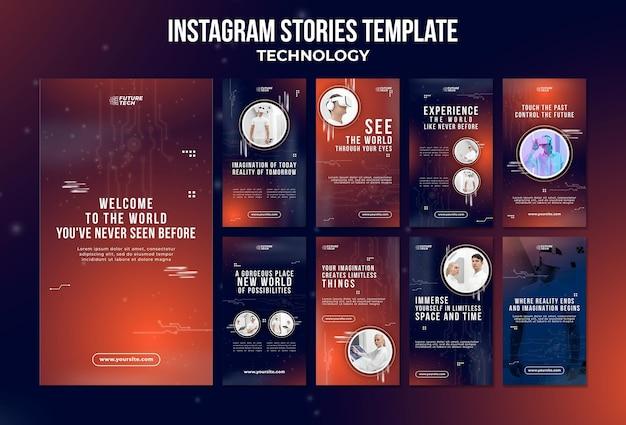 Modello di storie di instagram di tecnologia