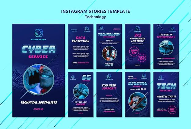 Modelli di storia di tecnologia instagram con foto