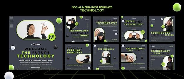 Modello di post sui social media tecnologici