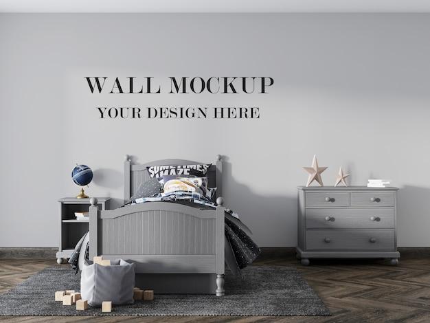 Mockup della parete della camera da letto per adolescenti