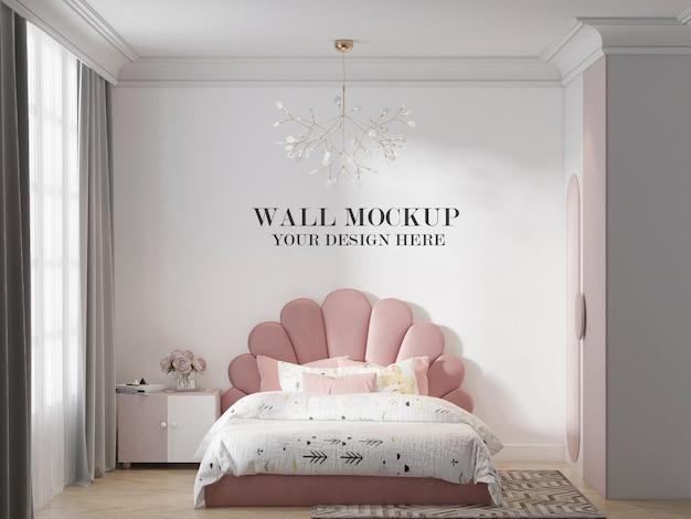 Mockup della parete della camera da letto della ragazza adolescente