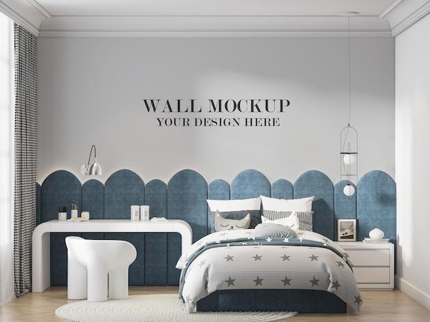 Mockup della parete della stanza dell'adolescente con un design d'interni alla moda