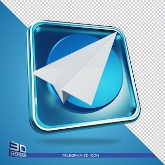 Icona di rendering 3d di telegram isolata