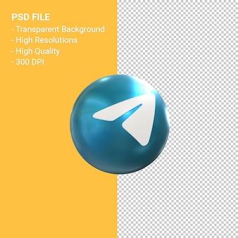 Icona di telegramma logo 3d rendering isolato