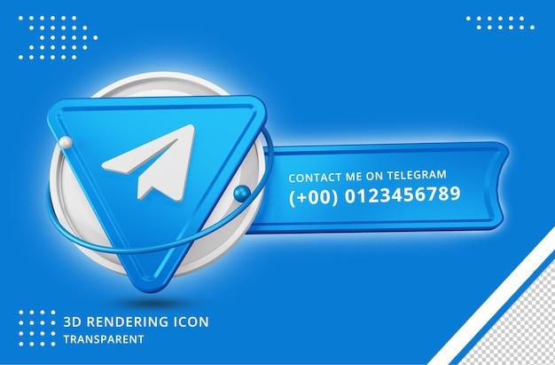 Icona del profilo di telegram nel rendering 3d